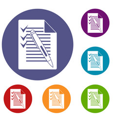 document with plan and pen icons set vector image