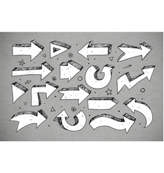 Doodle sketch arrows on grey background vector