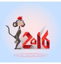 Fire monkey-hipster with 2016 lettering vector