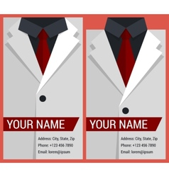 Flat business card template with white jacket vector