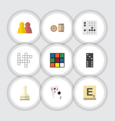 Flat icon games set of guess mahjong pawn and vector