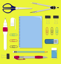 Flat set of stationery on the table vector