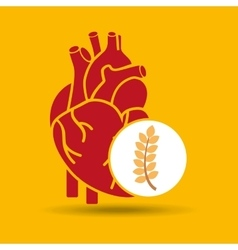 Food healthy heart wheat concept design icon vector