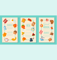 fresh breakfast concept set of posters or banners vector image
