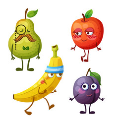 Funny fruit characters isolated on white vector