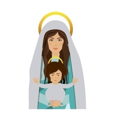 half body saint virgin mary with baby jesus vector image