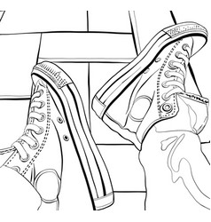 Hand drawing of a sneakers vector