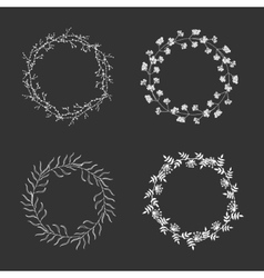 hand drawn floral wreaths vector image