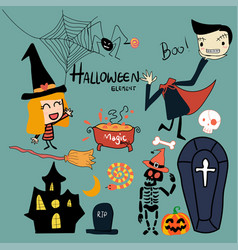 Hand drawn halloween elements collection cute vect vector