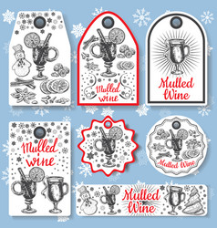 hand drawn mulled wine gift tags set black vector image