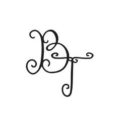 Handwritten monogram bt icon vector
