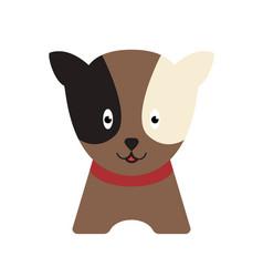 happy dog cartoon white and black eyes vector image