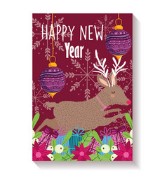 happy new year reindeer flowers balls foliage vector image