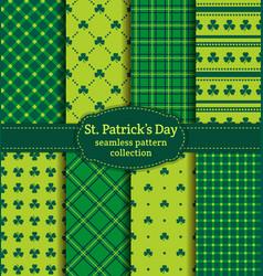 Happy st patricks day set seamless patterns vector