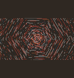 hexagonal tunnel in retro colors abstract vector image