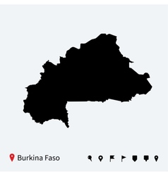High detailed map of Burkina Faso with navigation vector image
