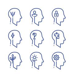 human head profile line icon set psychology vector image