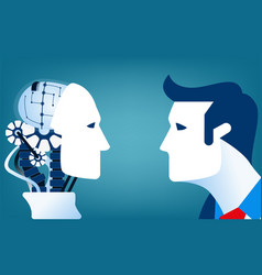 Humans vs robots concept business vector