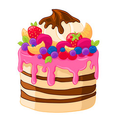 Icon cartoon sweet cake with strawberries vector