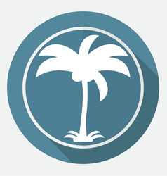 Icon palm trees on white circle with a long shadow vector