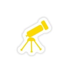 Icon sticker realistic design on paper telescope vector