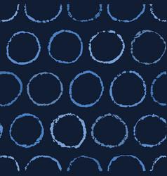 Indigo blue hand drawn spotted polka dot circles vector