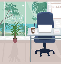 Interior of workplace with ocean view in tropics vector