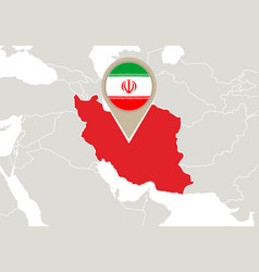 Iran on world map vector