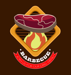 isolated bbq poster vector image
