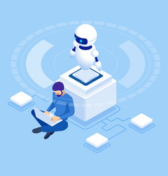 isometric man programming robot settings vector image