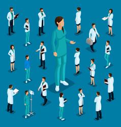 Isometric medical staff doctor surgeon nurse vector