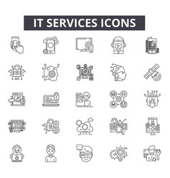 it services line icons for web and mobile design vector image