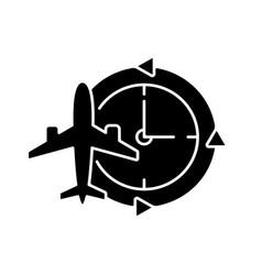 Jet lag black glyph icon vector
