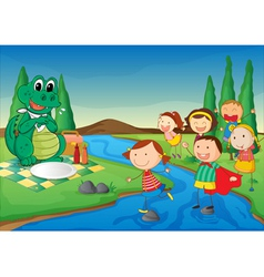 kids and crocodile at picnic vector image