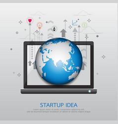 laptop startup idea vector image