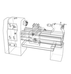 Lathe concept rendering of 3d vector