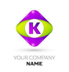 Letter k logo symbol in colorful rhombus vector