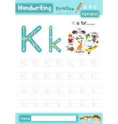 Letter k uppercase and lowercase tracing practice vector