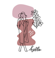 Line woman silhouette creative freehand vector