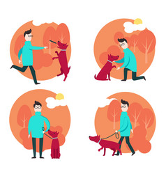 man with dog in flat style vector image