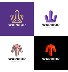 modern w letter company logo clean design warrior vector image