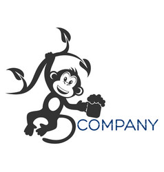 Monkey with beer logo vector