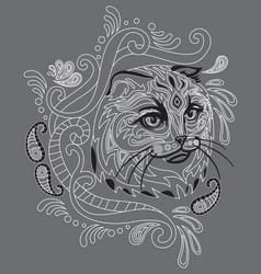 Monochrome ornamental cat 4 vector