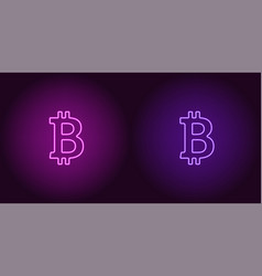 neon icon of purple and violet bitcoin vector image