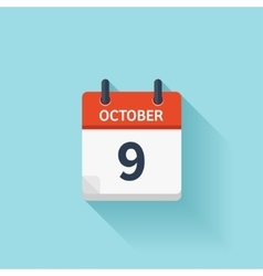 October 9 flat daily calendar icon Date vector