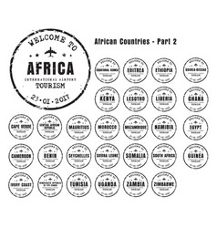 old worn stamps with the name of the african vector image
