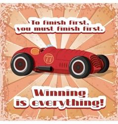 One retro sport car postcard vector image