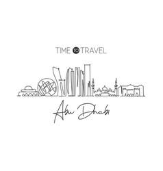 One single line drawing abu dhabi city skyline vector