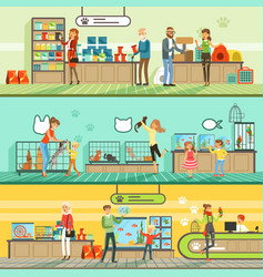 Pet shop horizontal banners set people buying vector