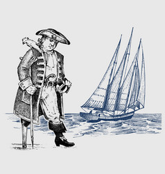 Pirate or captain man on ship traveling through vector